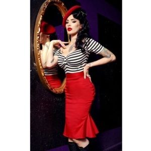 Deadly Dames Red Skirt Womens Plus 2X